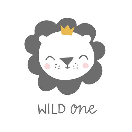 Wild one lion with crown kids illustration. Baby lion animal character. Illustration for baby kids poster, nursery wall art, card, invitation, birthday, apparel.