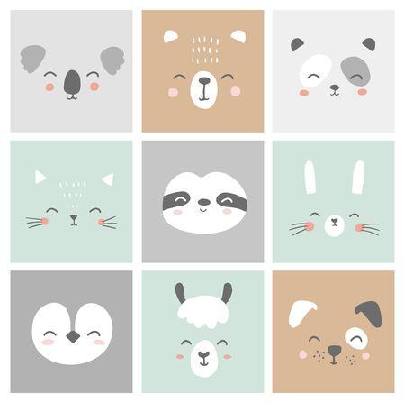 Cute simple animal faces portraits - hare, bear, sloth, cat, koala, alpaca, llama, panda, penguin, dog. Designs for baby clothes. Hand drawn characters. Vector illustration. 矢量图像