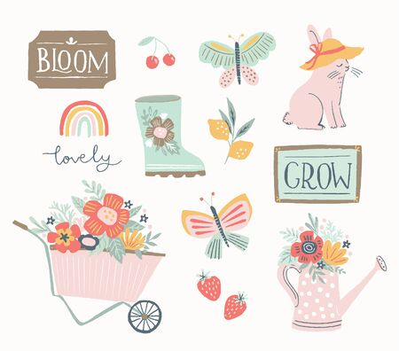 Spring and summer gardening set, hand drawn elements- calligraphy, flowers, wheelbarrow, watering can and other. Perfect for web, card, poster, cover, tag, invitation, stickers. Vector illustration. 矢量图像