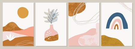 Terracotta Art Print Set. Abstract summer contemporary modern trendy painting. Vector illustration in Burnt orange, dusty pink. Perfect for posters, instagram posts, social media.