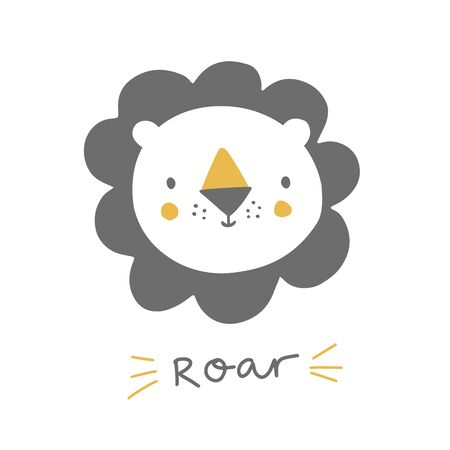 Cute lion with hand lettering roar. Baby lion animal character. Illustration for baby kids poster, nursery wall art, card, invitation, birthday, apparel. 矢量图像