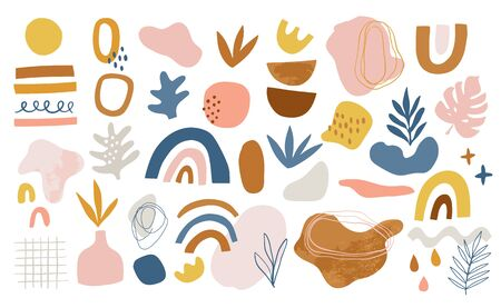 Set of hand drawn various shapes and doodle design elements. Abstract contemporary modern trendy vector illustration. Isolated. Perfect for abstract compositions, posters,  posts.