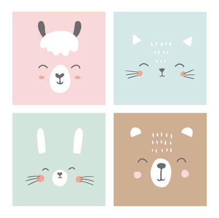 Cute simple animal faces portraits - kawaii animals. Bunny, bear, cat, alpaca, llama. Designs for baby clothes, posters, greeting card. Hand drawn characters. Vector illustration. 矢量图像