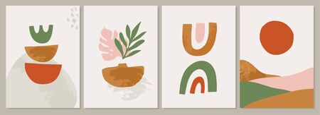 Terracotta Art Print Set. Abstract contemporary modern trendy painting. Vector illustration in Burnt orange, dusty pink. Perfect for posters,  posts, social media.