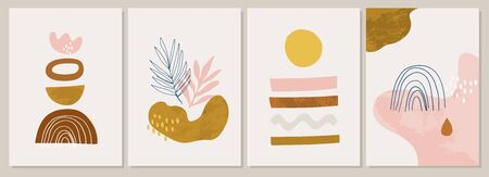 Collection of contemporary art posters. Terracotta Art Print Set. Trendy summer vector illustration in Burnt orange, dusty pink. Perfect for posters,  posts, social media. 矢量图像