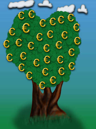 billing: Illustration of Euro sign. Conceptual illustration of tree. Money Making Ideas. Stock Photo