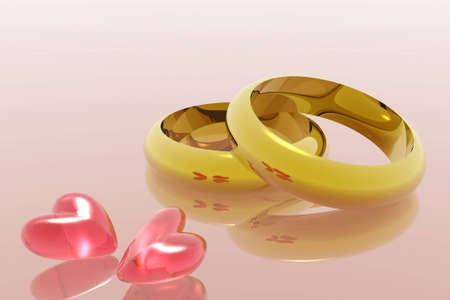 symbolism: Heart symbols and rings, digital illustration.