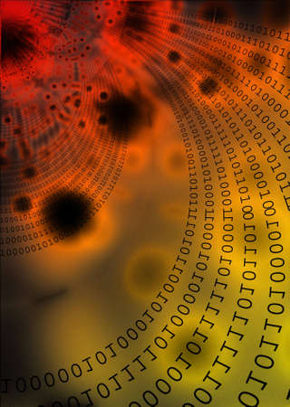 geosphere: Digits and data transfer conceptual design. Illustration of Information Technology.