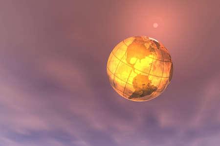 Digital montage. 3d render of globe.