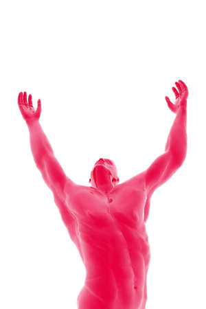 into: Digital illustration man arms up into the air. Stock Photo