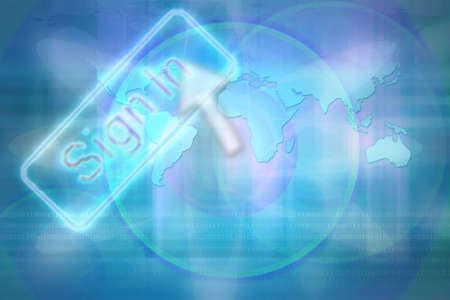 lithosphere: Illustration of global use of information technology. Stock Photo