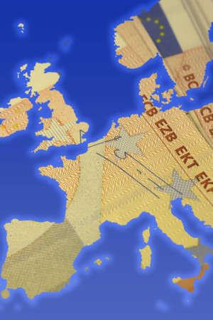 billing: Illustration of Euro sign. Conceptual illustration of money. europe