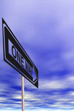 illustration of one way sign.
