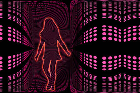 ambience: Young girls adventure into digital surroundings illustration