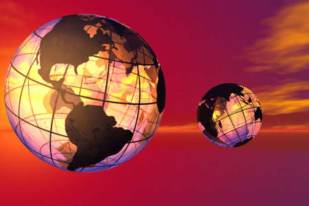 Fancy 3D rendered of world. Stock Photo