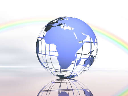 afrika: Wireframe 3D rendered of world. Stock Photo
