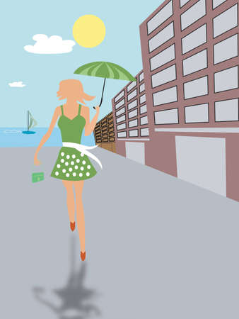 Illustration of woman walking on a sunny day. illustration