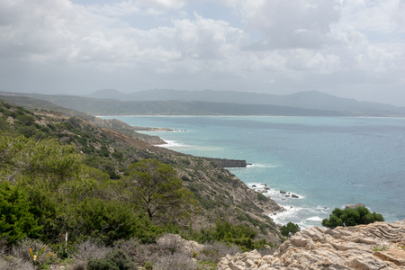 View from the mountains of the Mediterranean Sea on the island of Rhodes. On a sunny summer day. 免版税图像