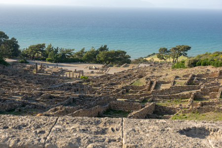 Ruins of the ancient Acropolis of Kamiros on Rhodes in greece. 免版税图像