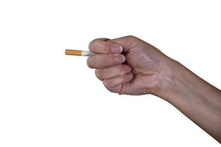 hand shows a fig with a cigarette, no smoking Stock Photo