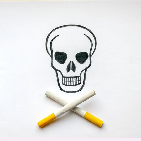 a drawn skull with crossed cigarettes instead of bones, stop smoking, stop smoking, do not smoke.