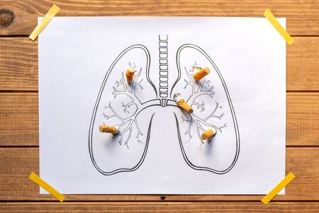 drawn human lungs with extinguished and crushed cigarettes, stop smoking, quit smoking, do not smoke. 免版税图像 - 129691853