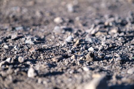 Stones of different sizes lie on a dusty surface. Dirt road in the sun.