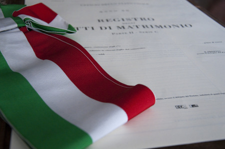 marriage certificate: tricolor flag and marriage certificate Stock Photo
