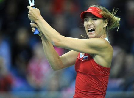 KRAKOW, POLAND - FEBRUARY 7 2015: Maria Sharapova during Fed Cup tennis cup in Poland Редакционное