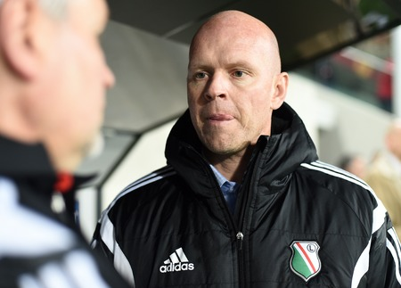 ajax: Warsaw, Poland - February 26, 2015 : UEFA Europa League play off stage Legia Warsaw Ajax Amsterdam Henning Berg Editorial