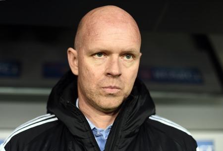 europa: Warsaw, Poland - February 26, 2015 : UEFA Europa League play off stage Legia Warsaw Ajax Amsterdam Henning Berg Editorial