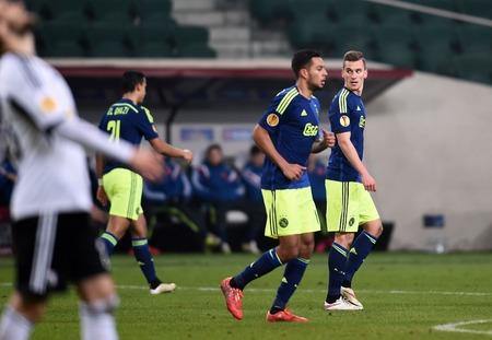 europa: Warsaw, Poland - February 26, 2015 : UEFA Europa League play off stage Legia Warsaw Ajax Amsterdam Arkadiusz Milik