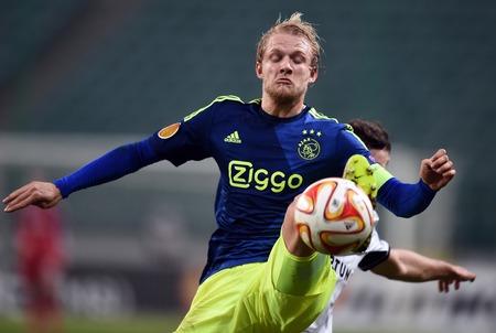 ajax: Warsaw, Poland - February 26, 2015 : UEFA Europa League play off stage Legia Warsaw Ajax Amsterdam Nicolai Boilsen