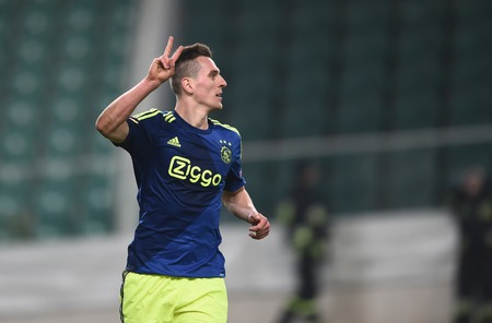 ajax: Warsaw, Poland - February 26, 2015 : UEFA Europa League play off stage Legia Warsaw Ajax Amsterdam Arkadiusz Milik