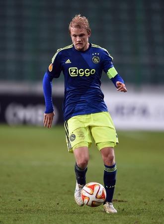 europa: Warsaw, Poland - February 26, 2015 : UEFA Europa League play off stage Legia Warsaw Ajax Amsterdam Nicolai Boilsen