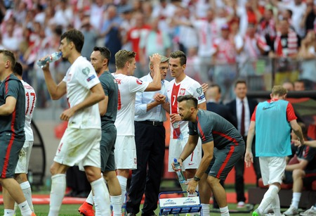 ajax: WARSAW POLAND JUNE 17 2015: EURO EURO 2016 France Football Cup Qualifiers Scotland vs Georgiaop Adam Nawaka Poland coach Arkadiusz Milik