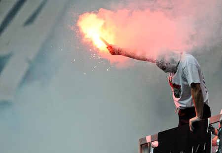 pyro: WARSAW, POLAND - MAY 02, 2015: Polish Football League Cup Final Legia Warsaw - Lech Poznan op: Legia fans supporters