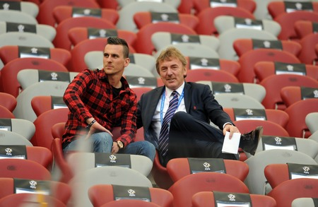 pyro: WARSAW, POLAND - MAY 02, 2015: Polish Football League Cup Final Legia Warsaw - Lech Poznan op: Arkadiusz Milik Ajax Amsterdam player, Zbigniew Boniek Head od PZPN Poloish football Federation Editorial