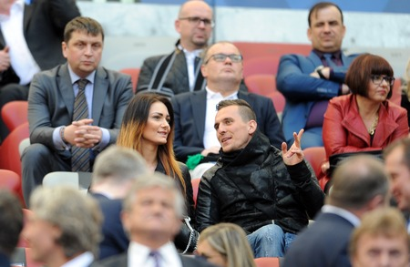 ajax: WARSAW, POLAND - MAY 02, 2015: Polish Football League Cup Final Legia Warsaw - Lech Poznan op: Arkadiusz Milik Ajax Amsterdam player with girlfriend