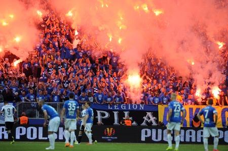 WARSAW, POLAND - MAY 02, 2015: Polish Football League Cup Final Legia Warsaw - Lech Poznanop: Lech Poznan fans