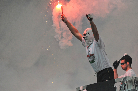 pyro: WARSAW, POLAND - MAY 02, 2015: Polish Football League Cup Final Legia Warsaw - Lech Poznanop: Legia fans supporters Editorial