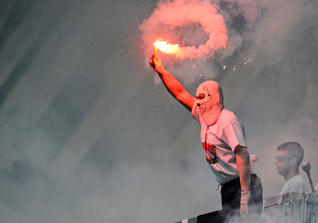 ultras: WARSAW, POLAND - MAY 02, 2015: Polish Football League Cup Final Legia Warsaw - Lech Poznanop: Legia fans supporters Editorial