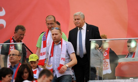 engel: WARSAW, POLAND - JUNE 17, 2015: EURO EURO 2016 France Football Cup Qualifiers Scotland vs Georgiaop Jerzy Engel