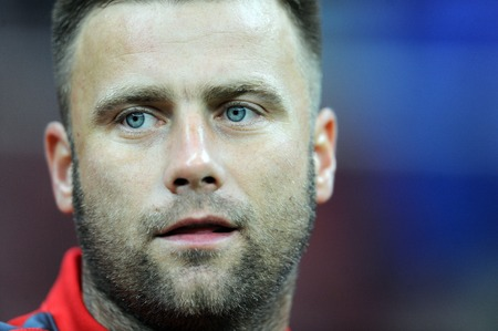 bournemouth: WARSAW, POLAND - SEPTEMBER 07, 2015: EURO 2016 France Football Euro Cup Qualifiers vs. Gibraltarop Poland goalkeeper Artur Boruc from AFC Bournemouth Editorial