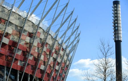 uefa: WARSAW, POLAND - APRIL 22, 2015: National stadium in Warsaw, Poland, the arena of UEFA Europa League Cup Final in 2015