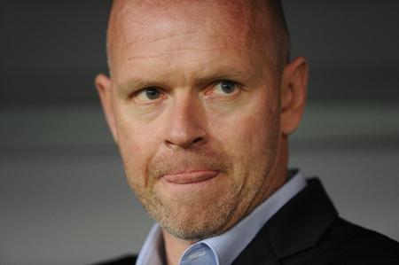 midfielder: WARSAW, POLAND - OCTOBER 1, 2015: UEFA Europa League group stage Legia Warsaw SSC Napoliop Henning Berg Editorial
