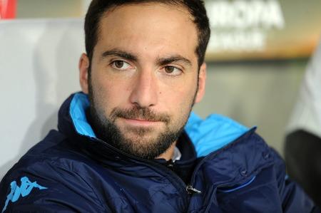 Napoli: WARSAW, POLAND - OCTOBER 1, 2015: UEFA Europa League group stage Legia Warsaw SSC Napoliop: Gonzalo Higuain Napoli Editorial