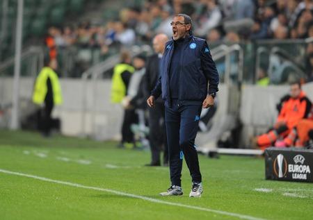 uefa: WARSAW, POLAND - OCTOBER 1, 2015: UEFA Europa League group stage Legia Warsaw SSC Napoliop Maurizio Sarri Napoli