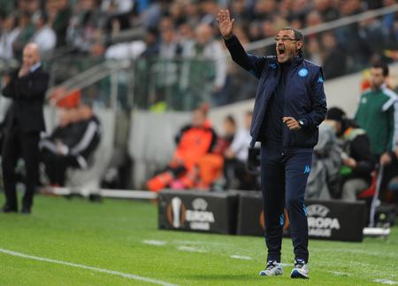 midfielder: WARSAW, POLAND - OCTOBER 1, 2015: UEFA Europa League group stage Legia Warsaw SSC Napoliop Maurizio Sarri Napoli