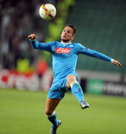 midfielder: WARSAW, POLAND - OCTOBER 1, 2015: UEFA Europa League group stage Legia Warsaw SSC Napoliop Dries Martens Napoli
